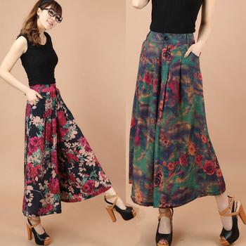 Большой Большой размер летние цветочным узором широкую ногу широкий льняные брюки ...
