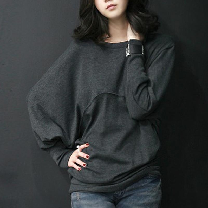 Novos 2014 sem gordura Mulheres senhoras de grande porte manga batwing coreano de manga comprida feminina soltos tshirts T -shirt encabeça 585 4xl 5xl(China (Mainland))