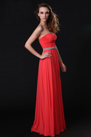 Charming Sweetheart Beaded Sash Long Chiffon Prom Dresses 2014 New Fashion Long Bridemaid Gowns Custom Made