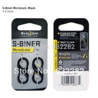 Nite Ize S-Biner MicroLock Pocket Stainless Steel Keychain Keyring Carabiner Locking Clip LSBM-01-2R3 Black Christmas Gift