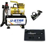 U-STAR U-601G Mini Air Compressor Golden Color + U-STAR S-120 Airbrush