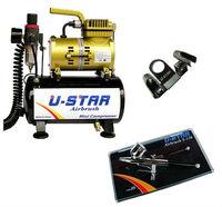 U-STAR U-601G Mini Air Compressor Golden Color + U-STAR S-130 Airbrush