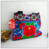 2014 new arrival embroidery flowers cloth women's handbag unique crafts bag