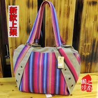 free shipping 2014  unique bag ethinic trend cotton hemp multi colour stripe shoulder bag leisure bag