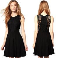 2014 new summer casual dress European exclusive Sleeveless sexy lace hollow Chiffon Dress women dress free shipping