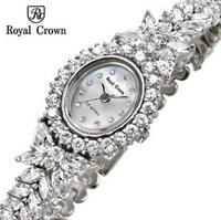 Royal Crwon 2014 New Women's Rhinestones Watch Silver Rose Gold High Quality Small Watch for Girls High Quality Luxury Watch