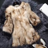 2014 raccoon fur coat o-neck three quarter sleeve design long fur  Y9P2