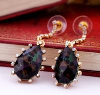Hollywood Designer Jewelry 2014 Fashion Statement Black Leopard Waterdrop Shaped Crystal Edge BJ Dangle Vintage Womens Earrings