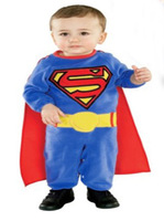 Spring 2014 Blue Superman Baby boy Cartoon-Shaped Rompers clothes Retail
