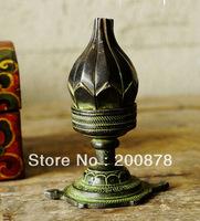 Indian brass lotus tortoise lamp,Nepal antiqued vintage candles holder,4'' high