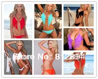 2013 New Free shipping Cheap Sexy Fashionable Secret Blue Fringe Bikini Set Swimwear Victoric Fringe Swimsuit Top and Bottom