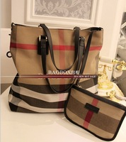 new 2014 Vintage canvas plaid women message bag With a wallet handbags of famous brands designers totes shoulder bags cross body