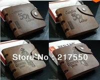 Special promotion!10 styles 2014 new men wallets & fine bifold brown brand Retro style Genuine leather with pu wallet for men