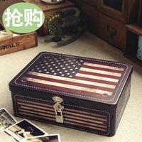 Retro finishing american flag metal box with lock storage box storage box gift box