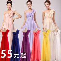 (CZ0451)Bridal dress 2014 free shipping long design  formal one shoulder bridesmaid dress chiffon