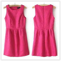 Women's Solid Color O-Neck Fashion Lace Jacquard Dress, Slim Sleeveless Elegant Vest Dress 2014 Spring-Autumn New Arrival