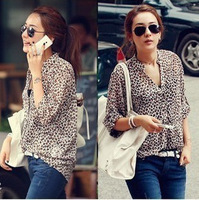 Roll sleeve leopard collar loose chiffon long point -sleeved shirt Leopard sunscreen