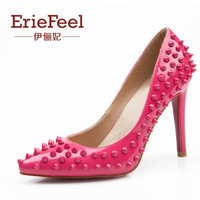 Fashion rivet japanned leather pointed toe black high-heeled shoes high-heeled single shoes female women's thin heels shoes