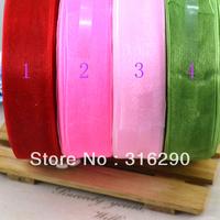 Fashion 2.5cm 50Yards/lot Organza Ribbon riband Band Bloned Woven Blet Jewelry Accessory/webbing decoration