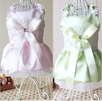 Free shipping Beautiful bow diamond dog princess dress the dog wedding dress teddy bear pet dog clothes