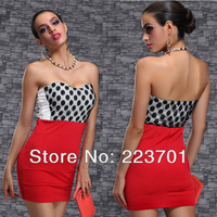 New Arrivals Short  Strapless Black Polka Dot Cocktail and Party Dress Lady Spot Dress