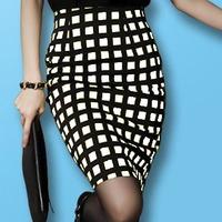 2013 summer female step high waist skirt medium black and white plaid ol pencil skirt slim hip skirt bust skirt spring and
