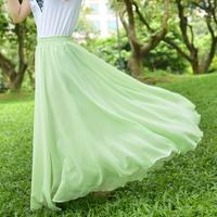 Original Manufacturer 2014 New Fashion Bohemian Princess Pleated Plus Size S-4XL Skirt Amazing Chiffon Long Skirt Free Shipping