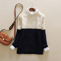 Da2-4 spring 2014 women's fashion color block decoration twist color block loose long-sleeve sweater female