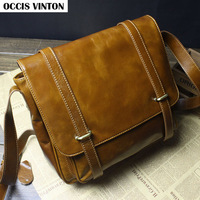 Hot sale fashion vintage genuine leather polished cowhide cross-body bag for men, men messenger bag genuine leather brand design