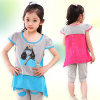 free shipping  Children's clothing female child summer 2013 rhinestones set 2 piece set