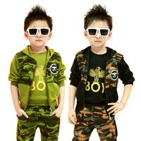 2014 Spring Camouflage Children's Clothing Sets Fashion Boys Clothing Set Infant Boys Vest+T-shirt+Pants 3 piece set