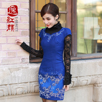 Autumn flower one-piece dress autumn and winter slim women's 2013
