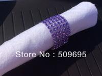 Light Purple Color wedding table decoration 6 rows  rhinestone diamond napkin ring, crystal rhinestone napkin ring LE006LP