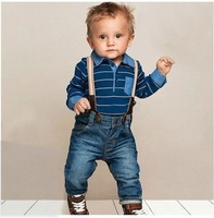 2014 NEW retail, baby clothing cotton striped t shirt + overalls baby boys clothes suits set, boy's jeans set free shipping