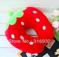 J2  Cute strawberry plush toy Travel car home pillow, U shape Neck pillow / rest pillow Free shipping
