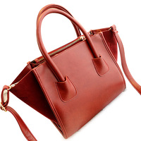 LUCKY ORANGE Stylish PU Leather Dual Function Bag Red Crossbody Bags Tote Bag Women Free Shipping New 2014 Fashion Trend