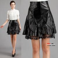 Free shipping 2014 spring genuine leather skirt short skirt lace decoration pleated skirt female sheepskin suit bust skirt