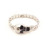 BD049 Wholesale Cool Stainless Steel Skull Charm Bracelet  Wristband For unisex Men Woman