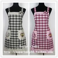 Fashion plaid bow sleeveless suspenders 100% cotton aprons work wear love pocket