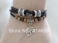 421 Brown leather bracelet Women and men leather jewelry Friendship bracelet Charm bracelet Birthday gift For him & her