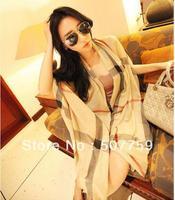 Free Shipping 2014 Winter classic wild plaid velvet cotton long scarves women shawls 5 colors