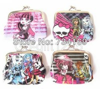 Free shipping 36pcs new Monster High Girl's PVC leather Coin Purse