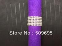 luxury wedding table decoration 6 rows A grade crystal diamond rhinestone silver napkin ring LE006RR