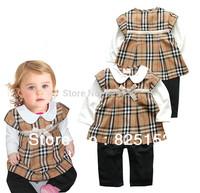 2015 New Brand Baby Girl Dress, Cotton Long Sleeve Pleated Romper Dress Bodysuit for Children