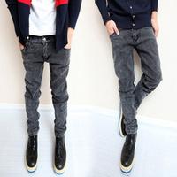 Male spring dark grey men's slim jeans pants elastic male trousers men's pencil pants, freeshipping