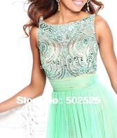 2014 NEW Fashion Elegant Design V Backless Gown Handmake Beading And Pleat  Long Tulle Dress OL102334
