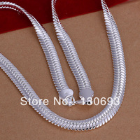 N209 Free Shipping  925 Sterling Silver Necklace&Pendants 10 m flat snake necklace - 20 ' Fashion Jewelry Valentine's day gift