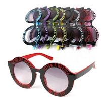 Free shipping!Wholesale Fashion Tide Kids Colorful Letter Print Plastic Sunglasses Children Round Promote sun Eyewear