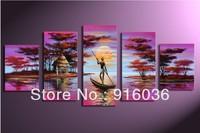 5 pcs/set Huge ! Hand-Painted Home Decoration Modern Landscape Oil Painting on Canvas Combination Handmade Art picture pt216