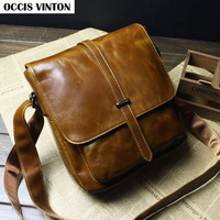 New 2014 genuine leather fashion men messenger bag, high quality vintage messenger bag man cross body bags designer brand
